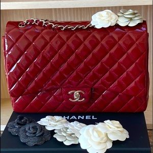 Patent Red Classic Maxi Chanel Bag